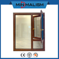 108 Thermal Break Aluminium Casment Window with Flyscreen for Residential